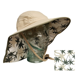 UV Protective Adult Floppy Hat with Palm Print in Khaki with Olive Trim from Sun Protection Zone