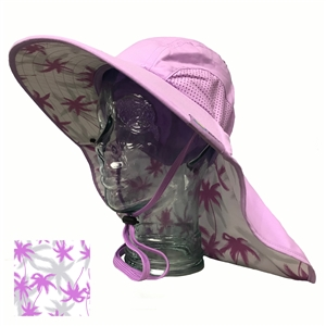 UV Protective Adult Floppy Hat with Palm Print in Lilac from Sun Protection Zone