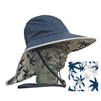 ADULT FLOPPY HAT WITH PALM PRINT - NAVY/SILVER TRIM