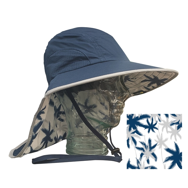 UV Protective Adult Floppy Hat with Palm Print in Navy with Silver Trim from Sun Protection Zone