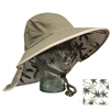 UV Protective Adult Floppy Hat with Palm Print in Olive with Khaki Trim from Sun Protection Zone