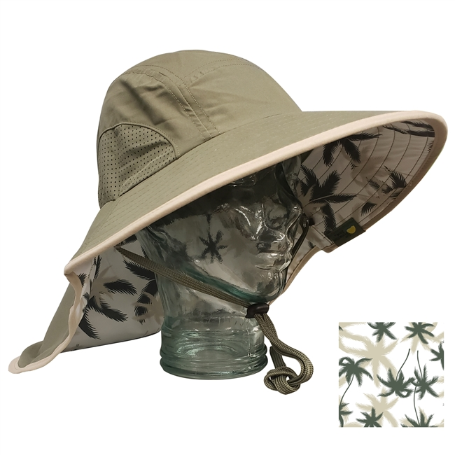 ADULT FLOPPY HAT WITH PALM PRINT - OLIVE/KHAKI TRIM