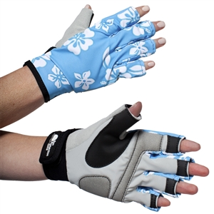 WOMEN'S SPORTS PERFORMANCE GLOVES - BLUE HIBISCUS