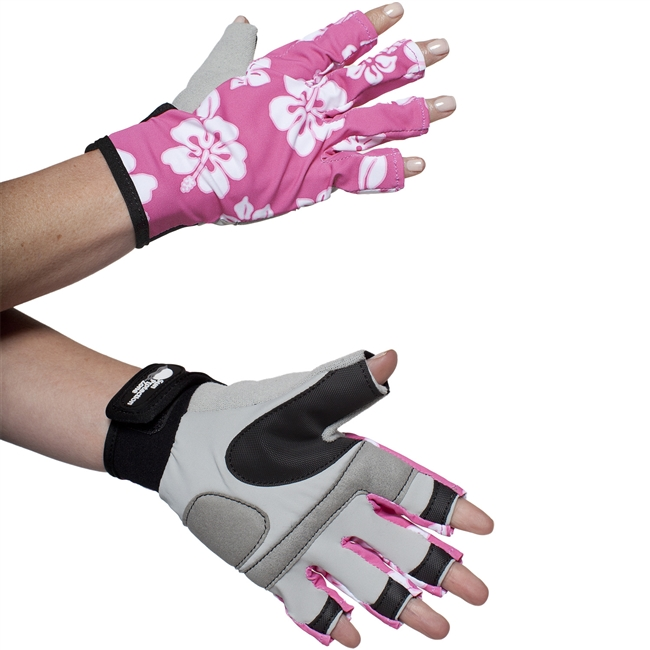 WOMEN'S SPORTS PERFORMANCE GLOVES - PINK HIBISCUS