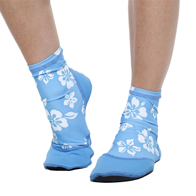 UV Protective Women's Sand Sox in Blue Hibiscus from Sun Protection Zone