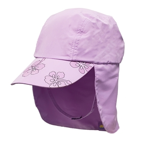 UV Protective Kid's UV Alert Legionnaire Hat in Lilac Hibiscus from Sun Protection Zone