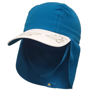 UV Protective Kid's UV Alert Legionnaire Hat in Marine Blue Shark from Sun Protection Zone