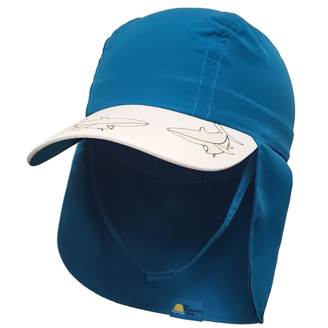 KID'S UV ALERT LEGIONNAIRE HAT - MARINE BLUE SHARK