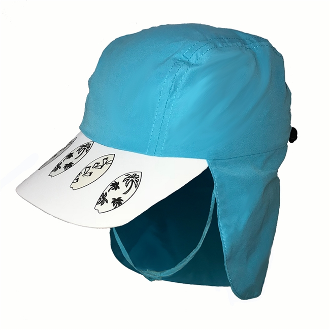 KID'S UV ALERT LEGIONNAIRE HAT - TEAL SURFBOARD