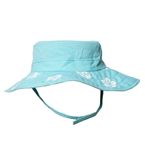 UV Protective Kid's Cowboy Safari Hat in Aqua/White Hibiscus from Sun Protection Zone