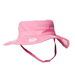 UV Protective Kid's Cowboy Safari Hat in Pink/White Hibiscus from Sun Protection Zone