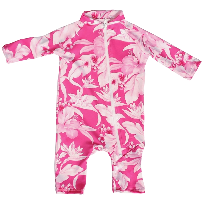UV Protective Infant One-Piece Long Sleeve Suit in Hibiscus from Sun Protection Zone