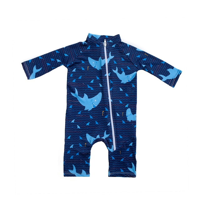 INFANT ONE-PIECE LONG SLEEVE SUIT - SHARKS