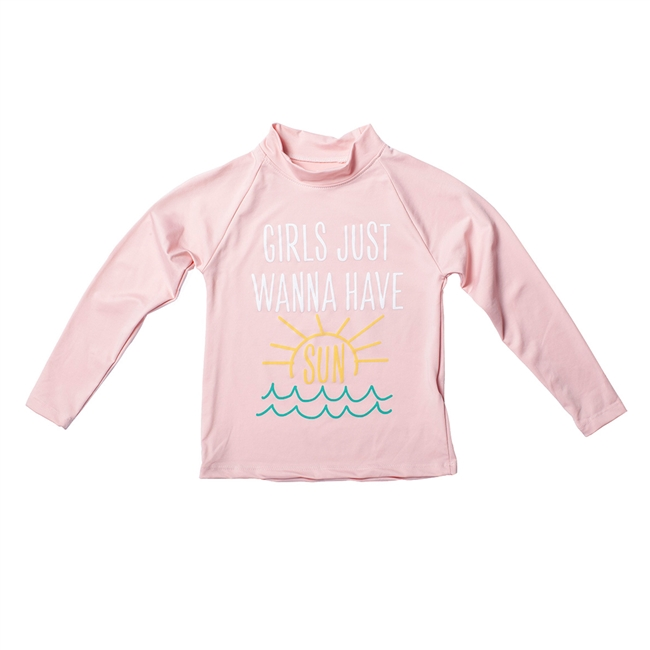 UV Protective Kid's Long Sleeve Rash Guard in Sea Wave from Sun Protection Zone