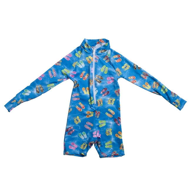 UV Protective Kid's One-Piece Long Sleeve Suit in Flip Flops from Sun Protection Zone