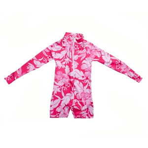 UV Protective Kid's One-Piece Long Sleeve Suit in Hibiscus from Sun Protection Zone