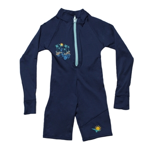 UV Protective Kid's One-Piece Long Sleeve Suit in Navy Surf from Sun Protection Zone