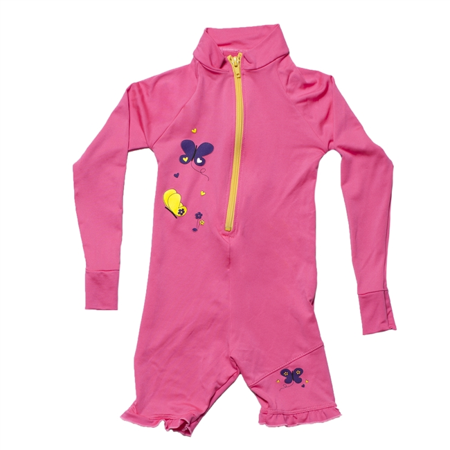 UV Protective Kid's One-Piece Long Sleeve Suit in Pink Butterfly from Sun Protection Zone