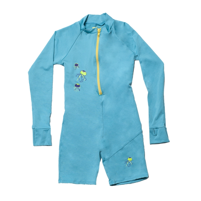 KID'S ONE-PIECE LONG SLEEVE SUIT - TEAL JELLYFISH
