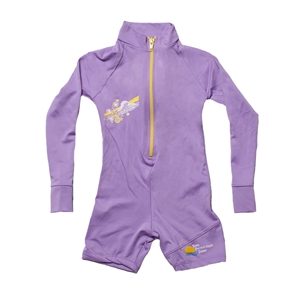 UV Protective Kid's One-Piece Long Sleeve Suit in Violet Starfish from Sun Protection Zone