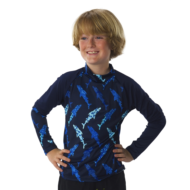 KID'S +4 RASH GUARD - NAVY SHARK