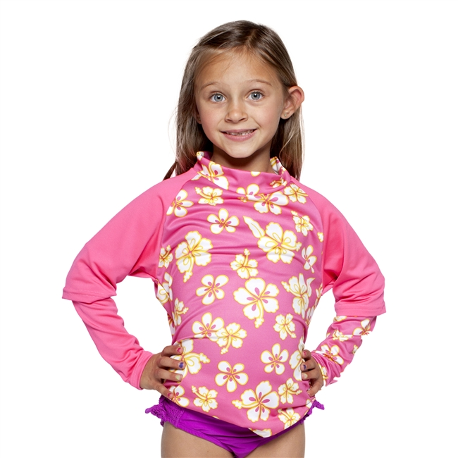 UV Protective Kid's +4 Rash Guard in Pink Hibiscus from Sun Protection Zone