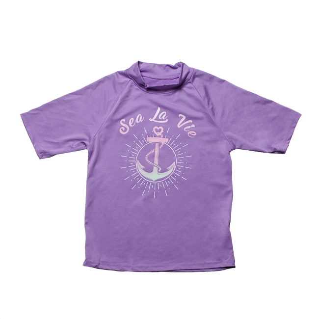 UV Protective Kid's Short Sleeve Rash Guard in Anchors Away from Sun Protection Zone