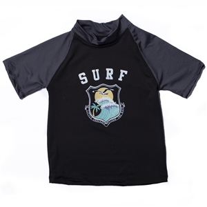 KID'S SHORT SLEEVE RASH GUARD - CATCHING WAVE