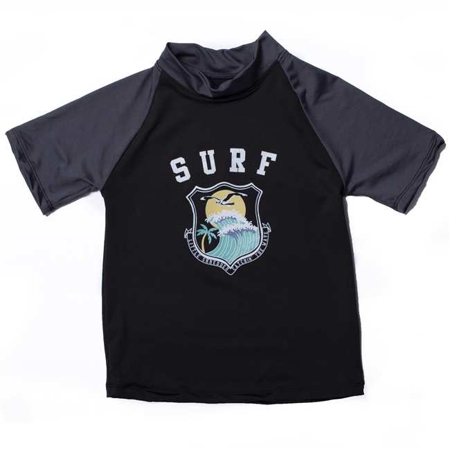 UV Protective Kid's Short Sleeve Rash Guard in Catching Wave from Sun Protection Zone