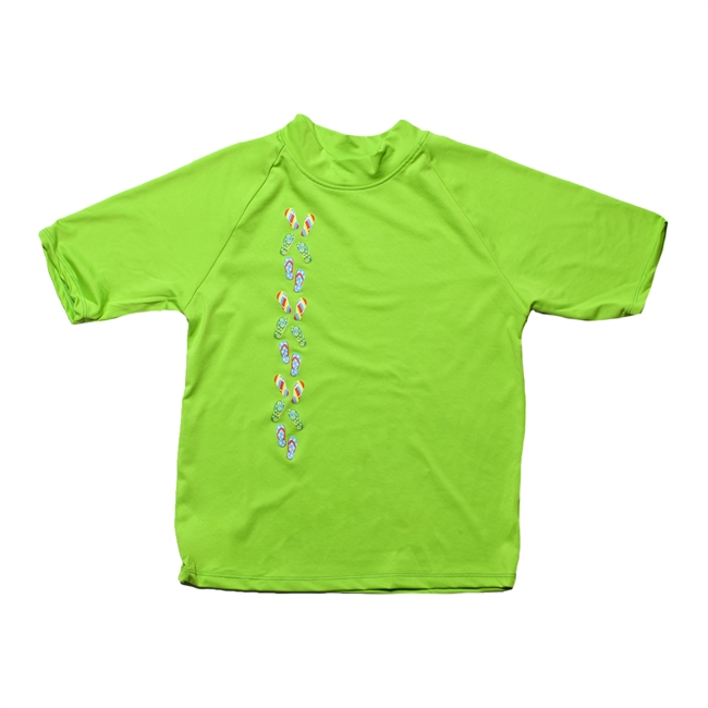 UV Protective Kid's Short Sleeve Rash Guard in Island Lime from Sun Protection Zone