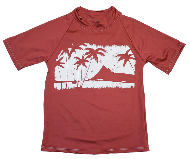 UV Protective Kid's Short Sleeve Rash Guard in Palm Paradise from Sun Protection Zone