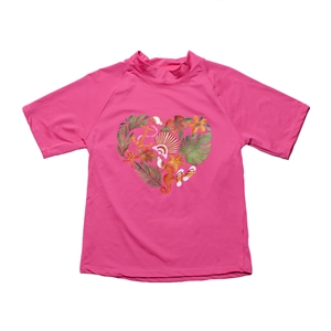 KID'S SHORT SLEEVE RASH GUARD - PALM SHELL