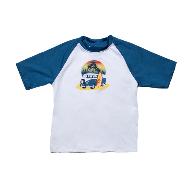 KID'S SHORT SLEEVE RASH GUARD - RETRO