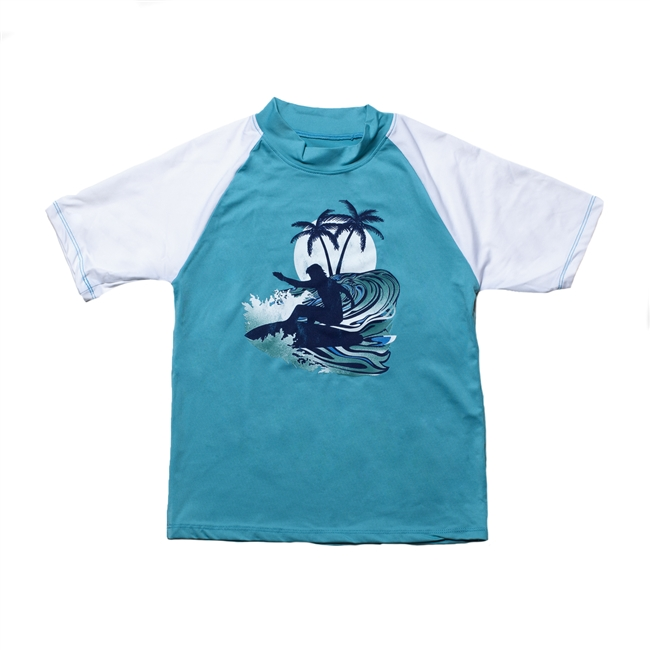 UV Protective Kid's Short Sleeve Rash Guard in Wave Catcher from Sun Protection Zone