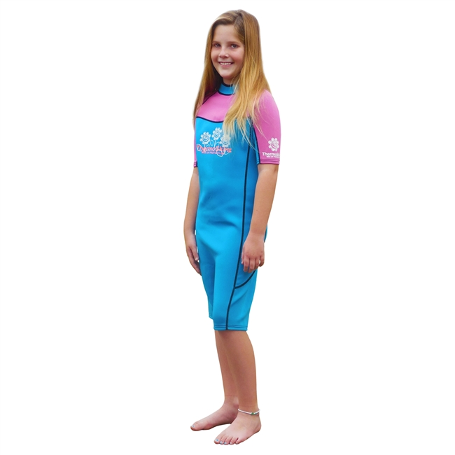 UV Protective Kid's ThermoSkinz Wetsuit in Pink/Teal from Sun Protection Zone