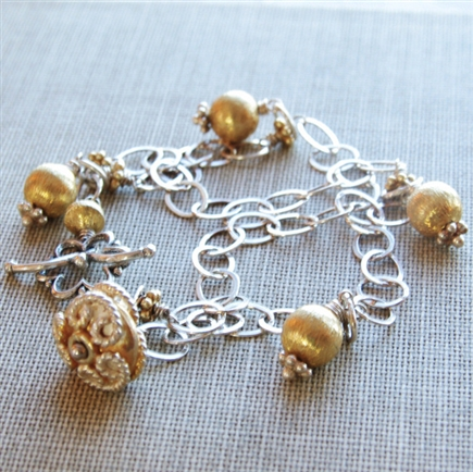 Silver and Gold Bracelet, Sterling Silver, Beaded Charm Bracelet, 24kt Gold Vermeil, Toggle Bracelet, Jewelry, Stoneray Studio