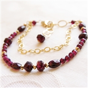 Garnet Bracelet, Red Garnet, 14kt Gold Filled Chain and Beads