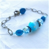 Blue Beaded Bracelet, Apatite, Swarovski Crystal, Glass Bead, Brass Bracelet, Gemstone, Jewelry, Stoneray Studio