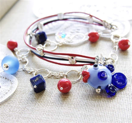 Red, White and Blue Bracelet, Lampwork Glass Jewelry, Fish, Bracelet, Lapis Lazuli, Red Coral, Swarovski Pearl, Sterling Silver, Leather Bracelet, Jewelry, Stoneray Studio