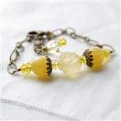 Yellow Jade Bracelet, Citrine Gemstone, Yellow Rose, Swarovski Crystal, Bronze Brass