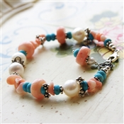 Peach Coral Bracelet White Freshwater Cultured Pearl Turquoise Stone Sterling Silver Bali Bead