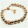 14kt Rose Gold Filled Bracelet Bolo Clasp Beaded Rhinestone