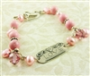 Pink Bracelet Sterling Silver Love Tag Freshwater Cultured Pearl Swarovski Crystal Bali Bead Stone