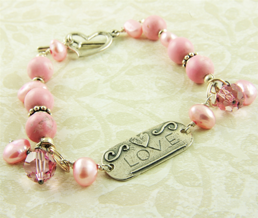 61edffe203f2 Pink Bracelet Sterling Silver Love Tag Freshwater Cultured Pearl ...
