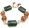 AUTUMN COLOR Bracelet, Beaded Gemstone Brown Carnelian Green Jasper Bali Sterling Silver, Artisan Handmade