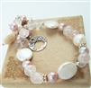 BLUSH White Coin Pearl Bracelet, Rose Quartz Gemstone Pink Beaded Bridal Bali Sterling Silver, Artisan Handmade