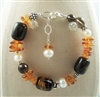 COGNAC Amber Bracelet, Brown Smoky Quartz Beaded Gemstone Bali Sterling Silver, Artisan Handmade