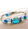 Blue Swarovski Crystal Bracelet, Natural Apatite Gemstone, Brass Bronze Jewelry