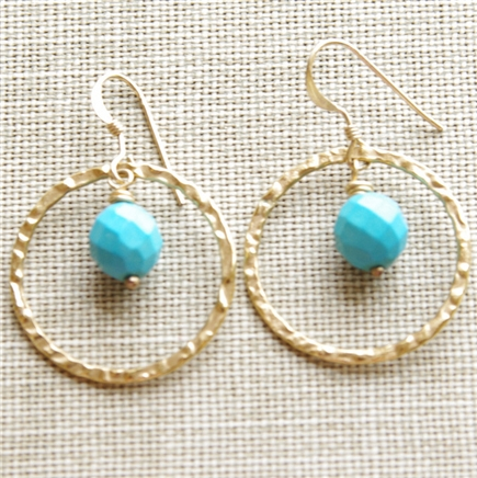 Turquoise Earrings, Gold Dangle Earrings, Turquoise Gemstone, 14kt Gold Filled, Hammered Circle Hoop, Earrings, Turquoise Jewelry, December Birthday, Stoneray Studio