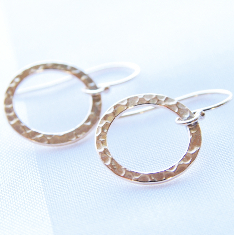 Circle Earrings, Simple Gold Earrings, 14kt Gold Filled Jewelry ...